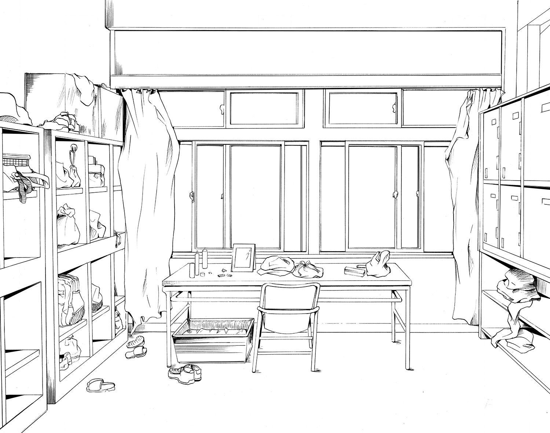 室内场景线稿图 - 优动漫 动漫创作支援平台