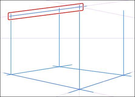 天井の線を一本だけ描く