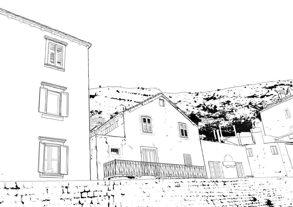 一点透视建筑风景图_风景520