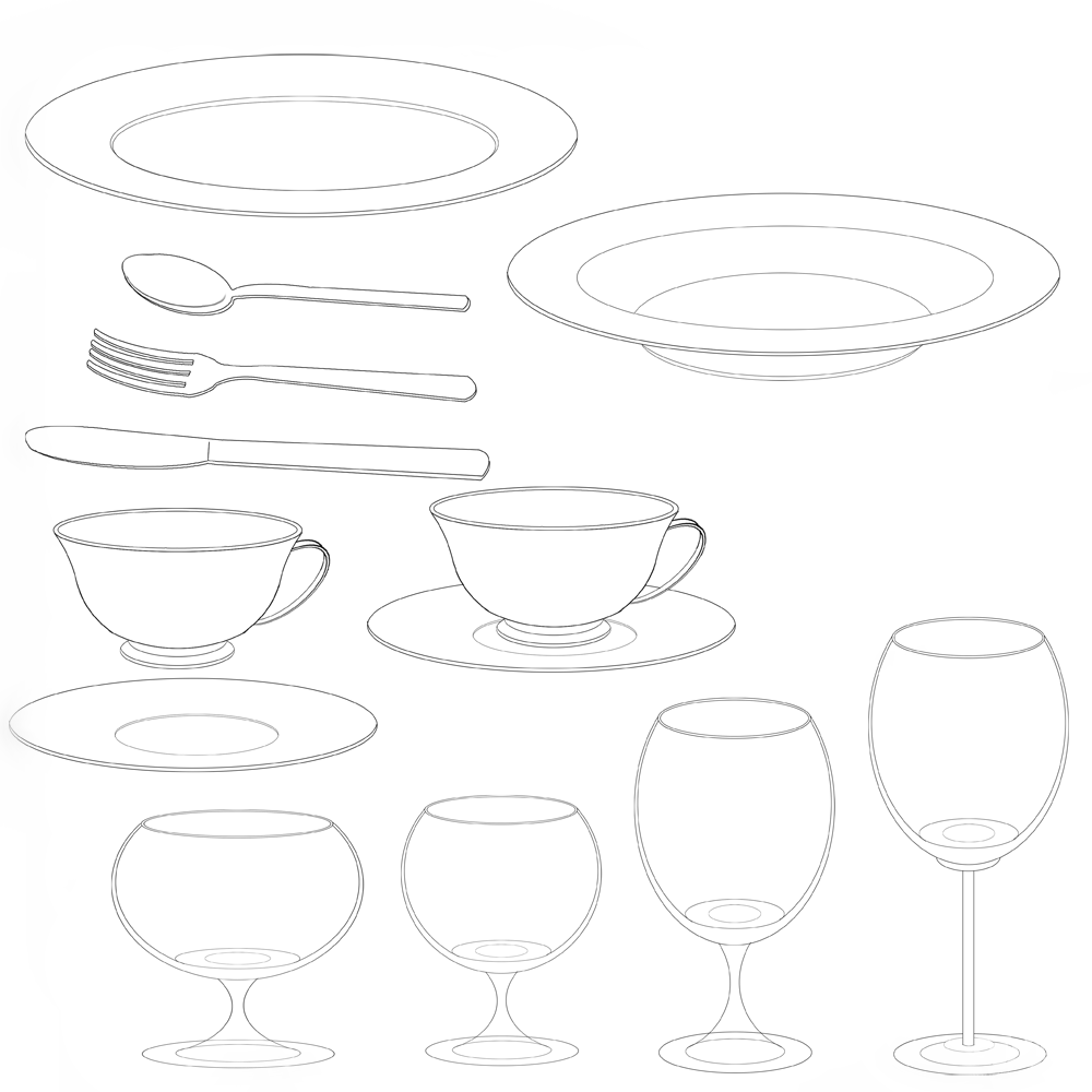 餐具彩版&线稿素材 - 优动漫