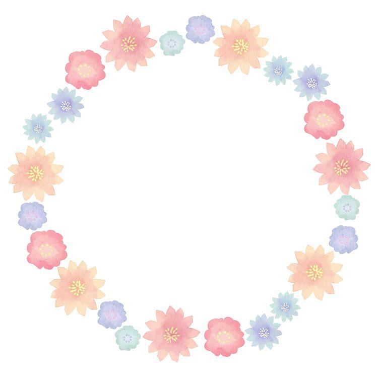 水彩花朵边框素材 - 优动漫