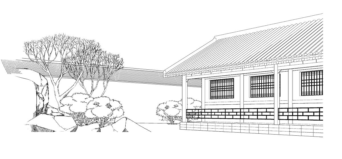 中式建筑线稿素材