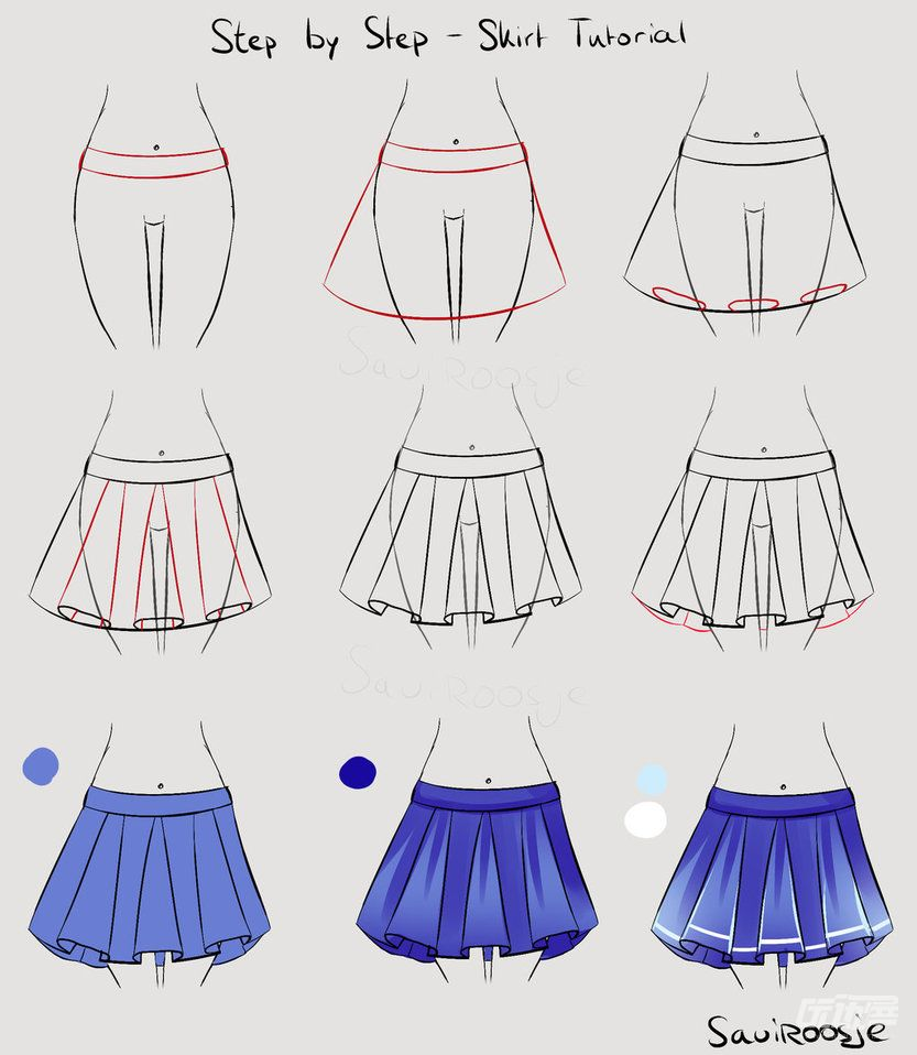 分类:                   安利集 一个简单的百褶裙画法,只需要9步就