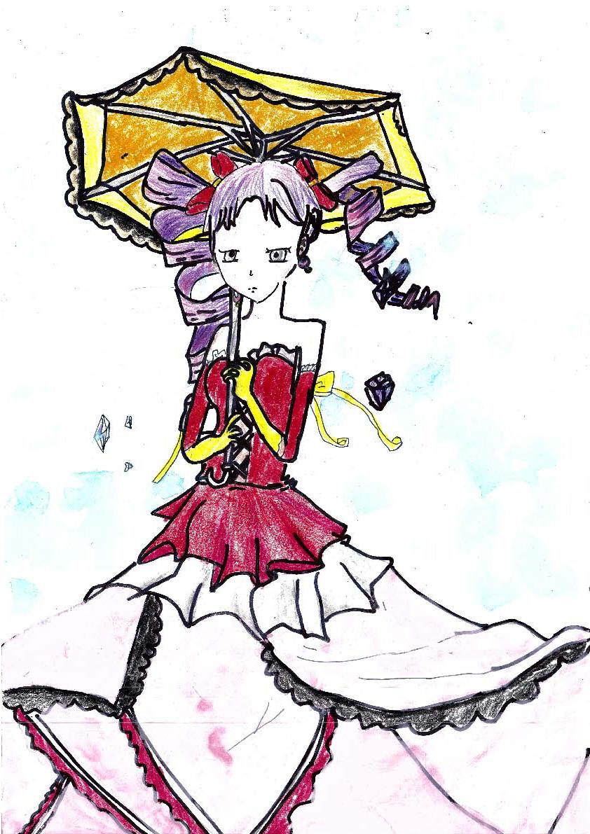 江南女子雨中撑伞背影简笔画